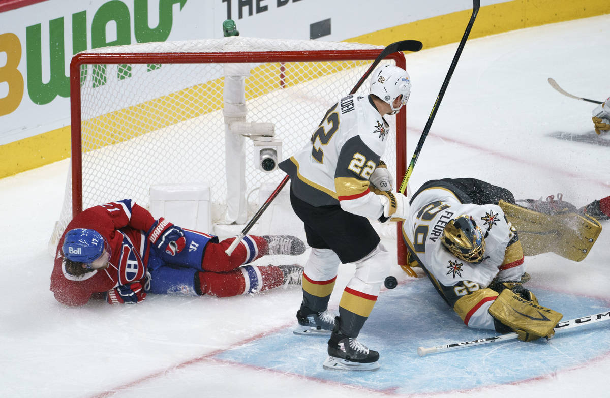 Montreal Canadiens' Josh Anderson slides into the net of Vegas Golden Knights goaltender Marc-A ...