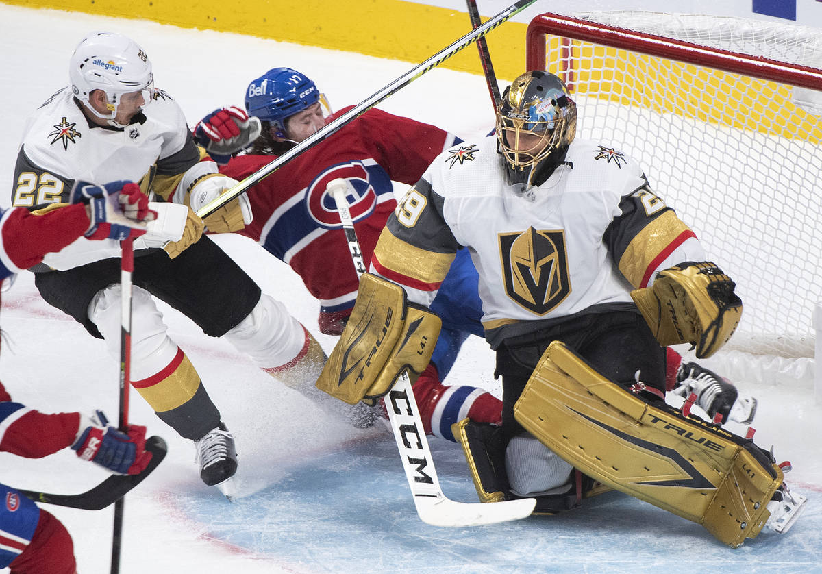 Montreal Canadiens' Josh Anderson (17) slides in on Vegas Golden Knights goaltender Marc-Andre ...