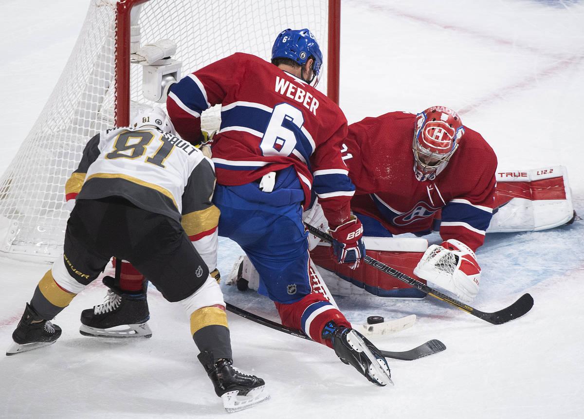 Montreal Canadiens goaltender Carey Price stops Vegas Golden Knights' Jonathan Marchessault (81 ...