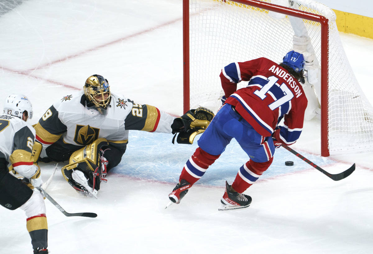 Montreal Canadiens' Josh Anderson scores past Vegas Golden Knights goaltender Marc-Andre Fleury ...