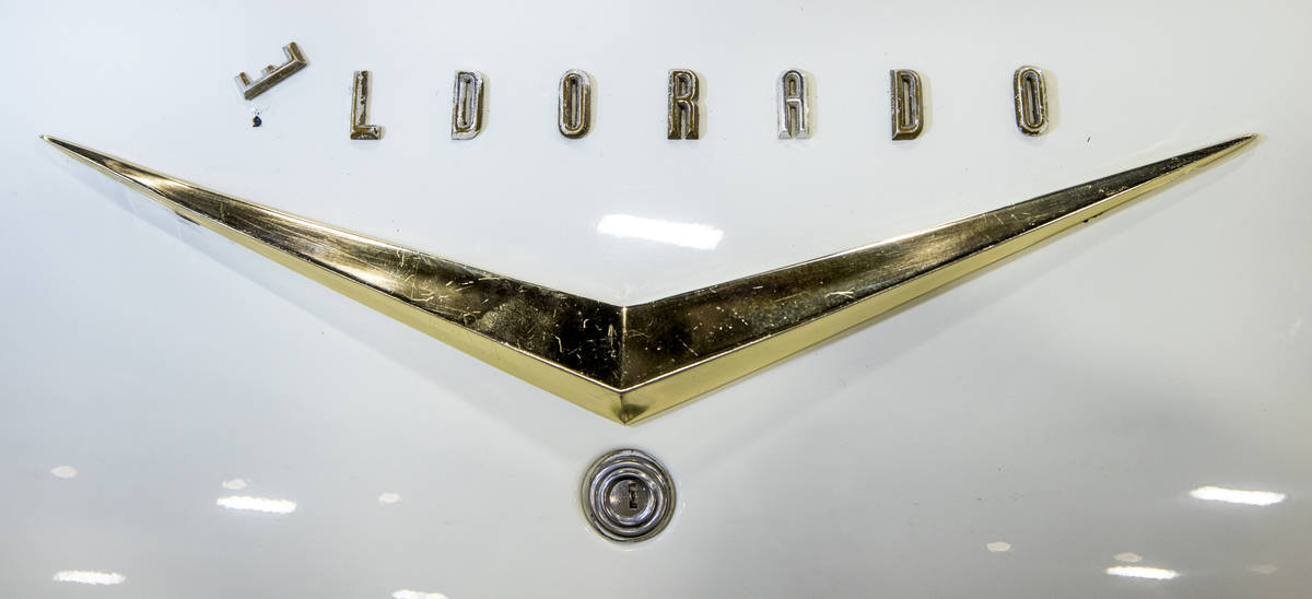 Turned letter ÒEÓ on the badging of a 1957 Cadillac Eldorado Biarritz Convertible for ...