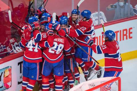 Montreal Canadiens celebrate Josh Anderson's goal against the Vegas Golden Knights during overt ...