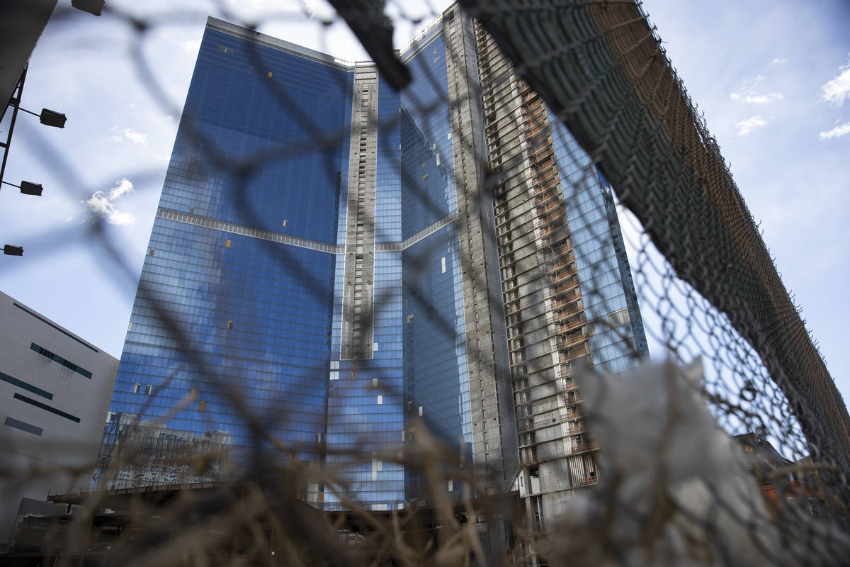 The unfinished former Fontainebleau hotel in Las Vegas, on Wednesday, Feb. 17, 2021. (Erik Verd ...