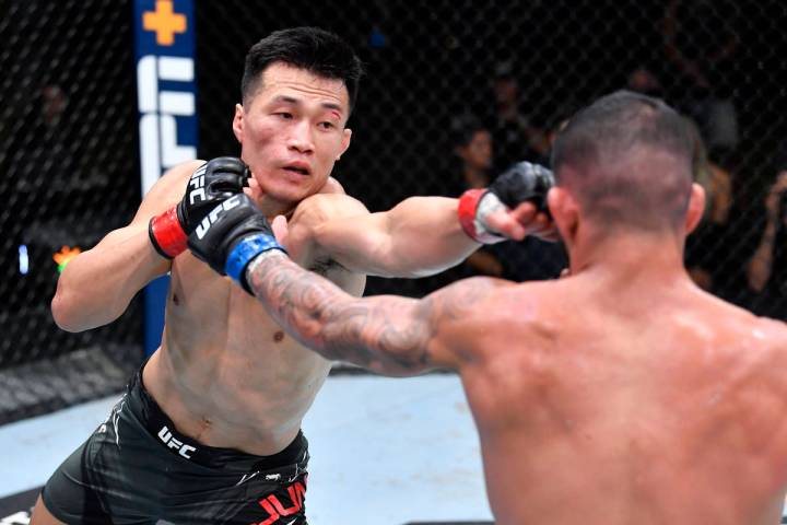 LAS VEGAS, NEVADA - JUNE 19: (L-R) 'The Korean Zombie' Chan Sung Jung of South Korea punches Da ...