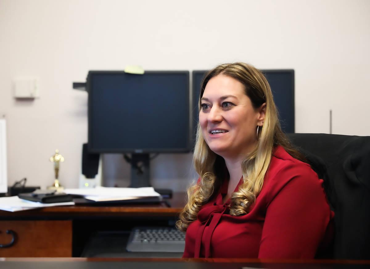 Clark County Coroner Melanie Rouse speaks to the Review-Journal Thursday, June 17, 2021, at the ...