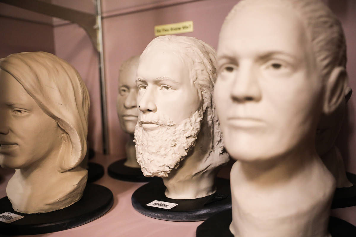 Modeled heads of unidentified, and some that have been identified, bodies at the Clark County C ...