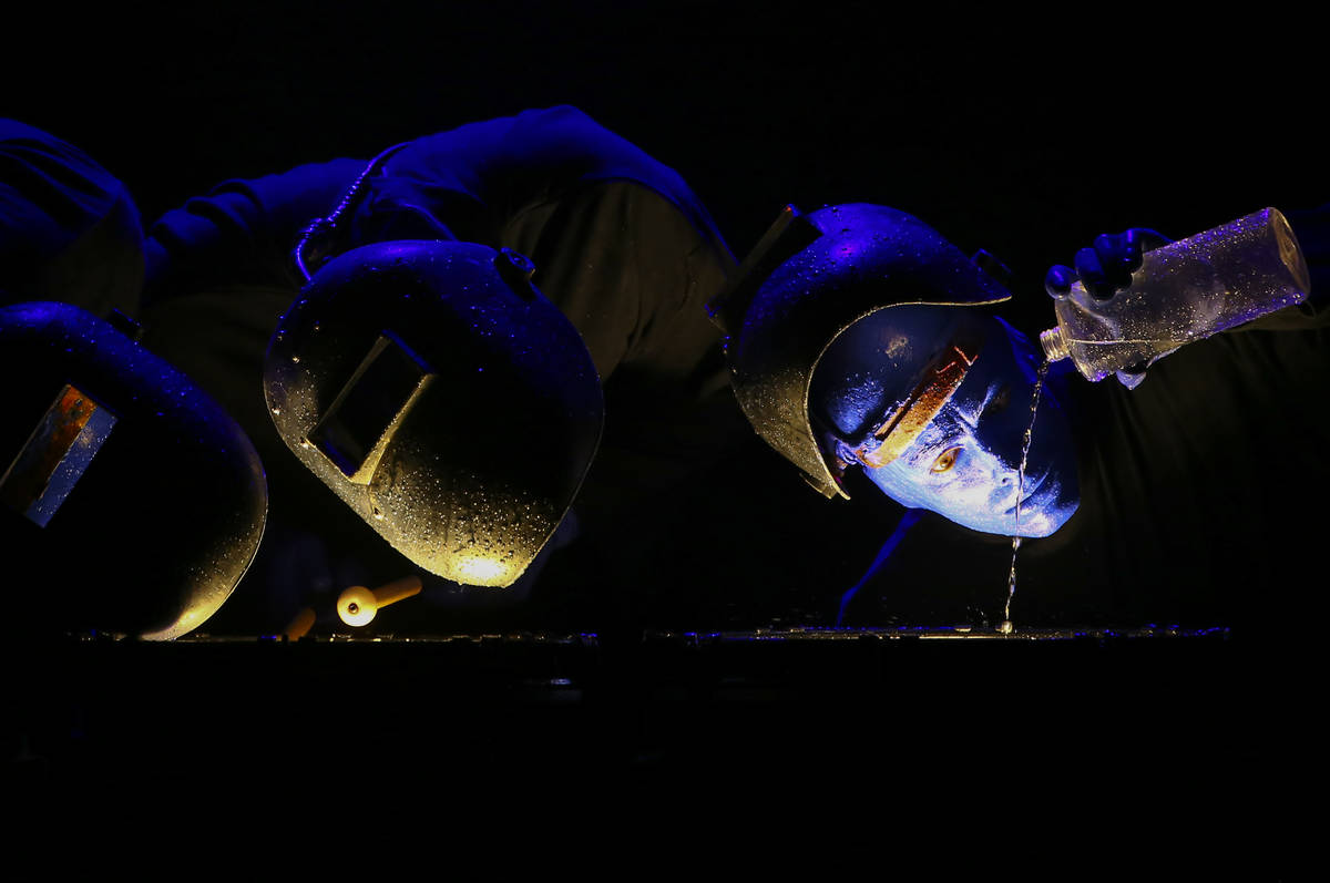 The Blue Man Group performs during a full dress rehearsal at the BMG Theater at the Luxor in La ...