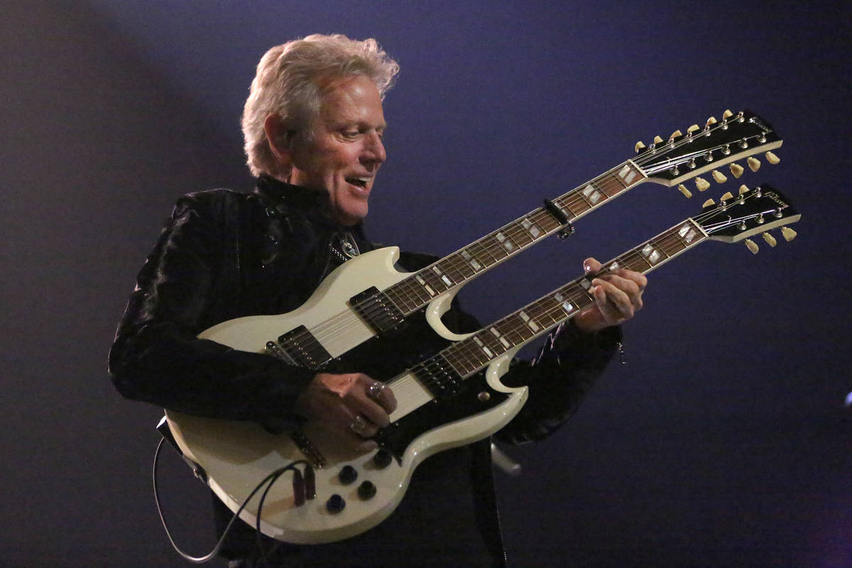 """Don Felder, formerly of the Eagles, performs Hotel California as part of the """"Styx & Don Felder ..."""
