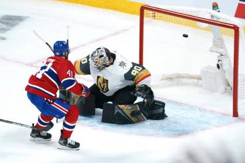 Montreal Canadiens' Paul Byron scores past Vegas Golden Knights goaltender Robin Lehner during ...