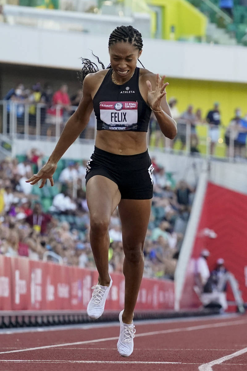 Allyson Felix finishes in second place in the women's 400-meter run at the U.S. Olympic Track a ...