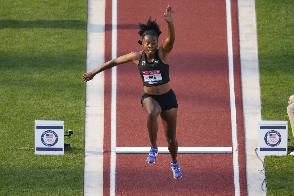 Keturah Orji competes during the finals of women's triple jump at the U.S. Olympic Track and Fi ...