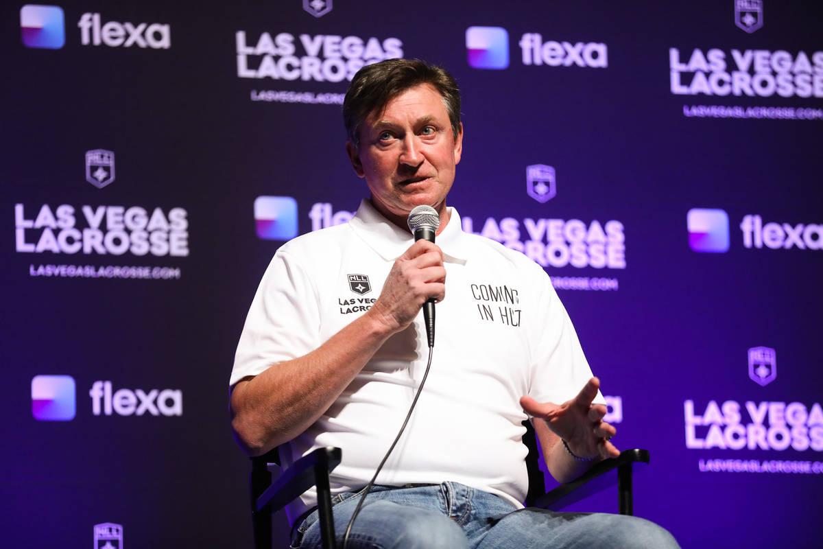 Wayne Gretzky, former professional ice hockey player and co-owner of Las Vegas Lacrosse, speaks ...