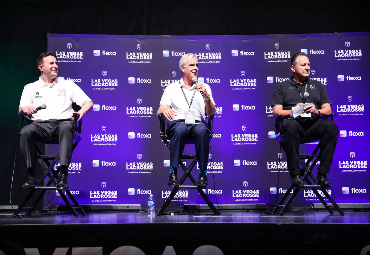 Mark Fine, CEO of Las Vegas Lacrosse, from left, Chuck Bowling, president and COO of Mandalay B ...