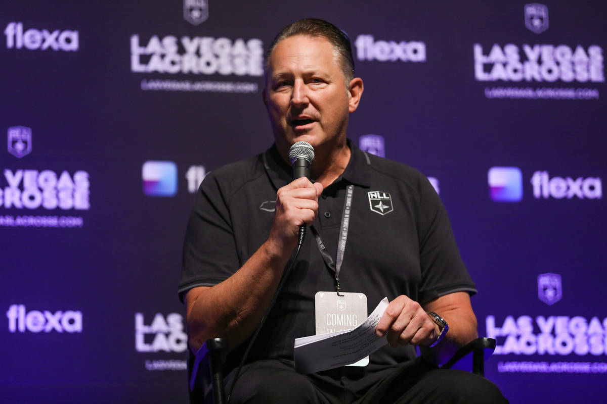 Nick Sakiewicz, commissioner of the National Lacrosse League, speaks to the crowd at an event t ...
