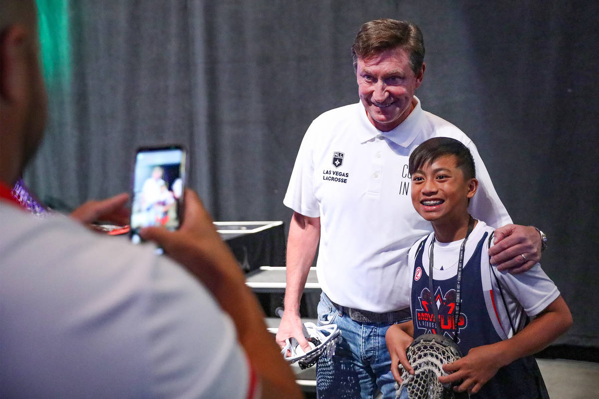 Wayne Gretzky, former professional ice hockey player and co-owner of Las Vegas Lacrosse, takes ...