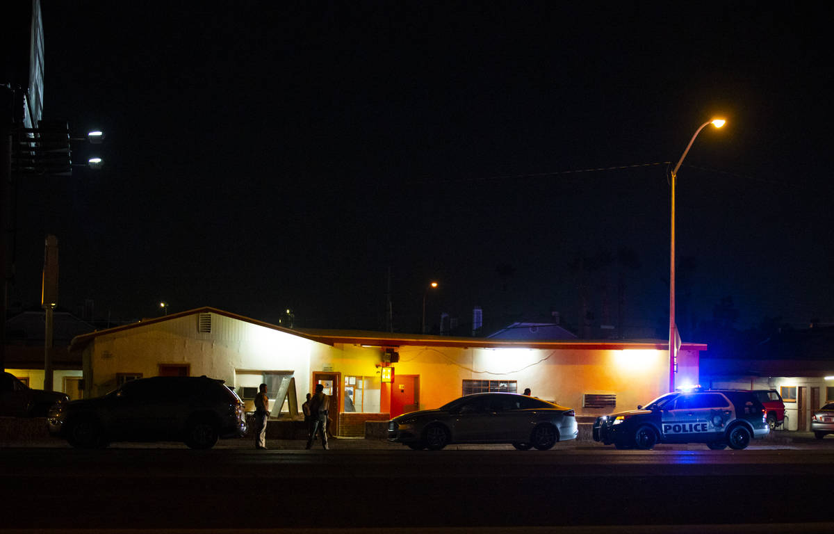 Las Vegas police investigate a homicide on Boulder Highway north of Russell Road in Las Vegas o ...