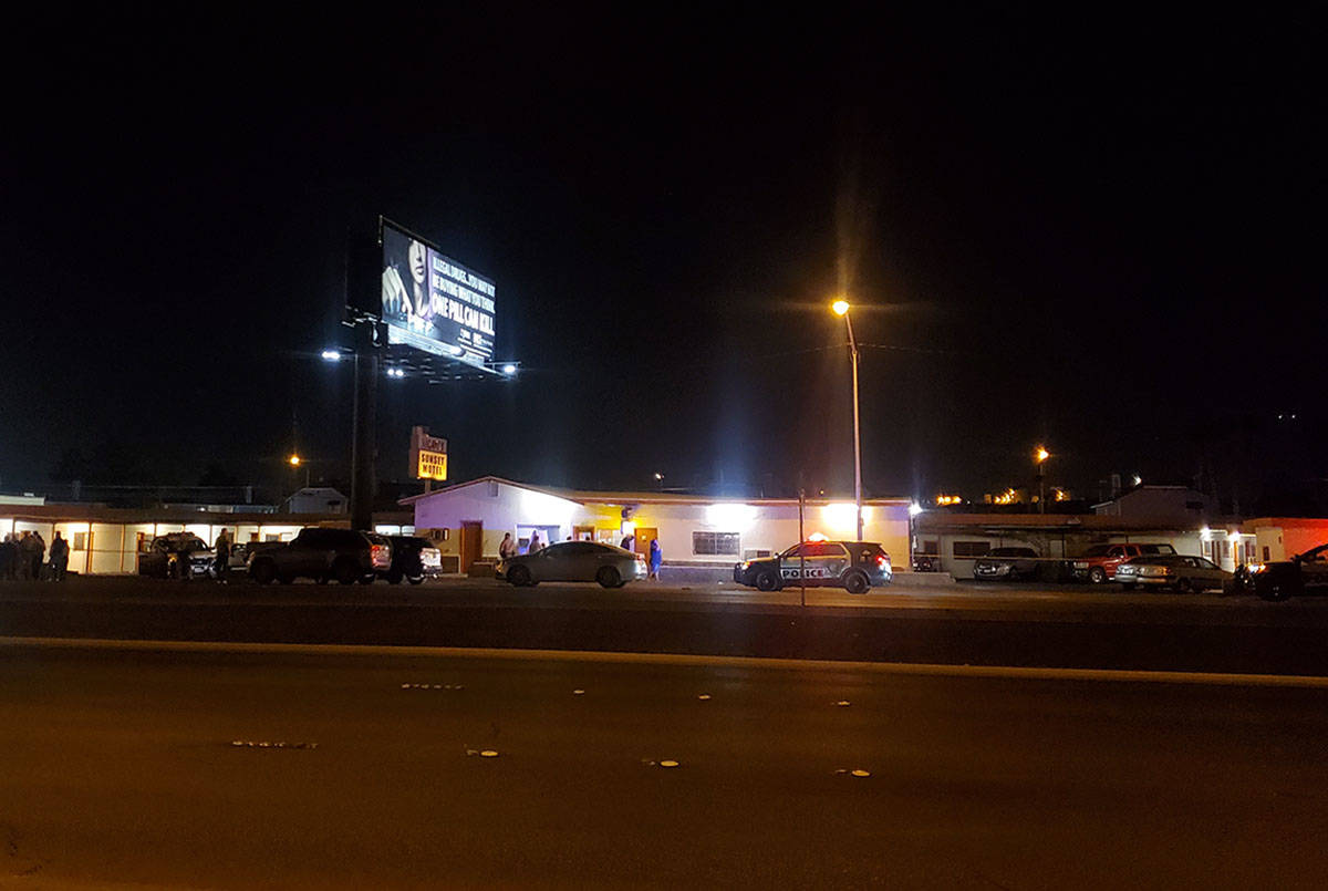 Las Vegas police investigate a homicide on Boulder Highway north of Russell Road on Sunday, Jun ...