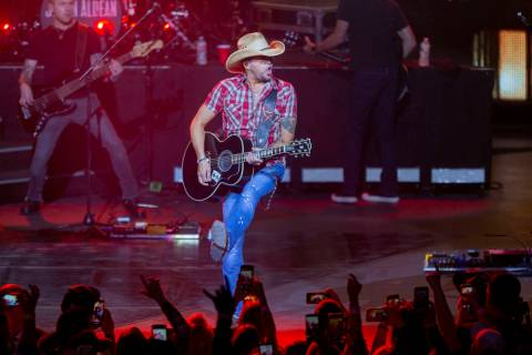 Jason Aldean performs at the Park MGM's Park Theater in Las Vegas on Friday, Dec. 6, 2019. (Las ...