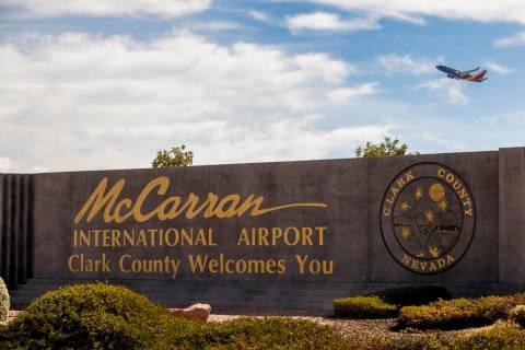 Sign for McCarran International Airport in Las Vegas. (L.E. Baskow/Las Vegas Review-Journal) @L ...