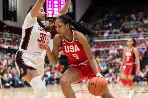 U.S. forward A'ja Wilson (9) dribbles as Stanford guard Haley Jones (30) defends in the third q ...