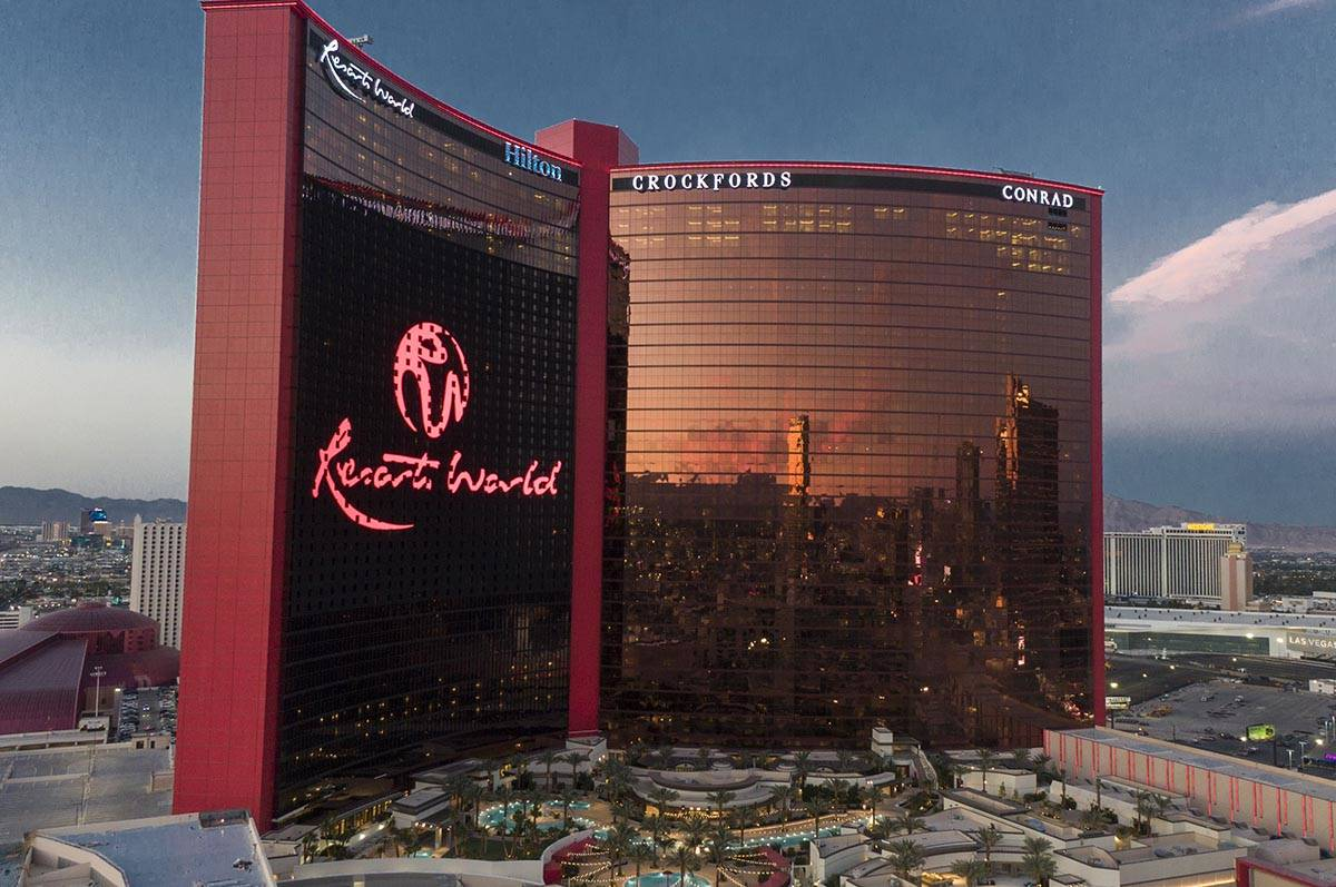 An aerial photo of Resorts World Las Vegas under construction on the former site of the Stardus ...