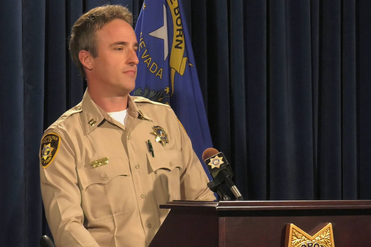 Police Capt. Shane Womack discusses the details of the Southern Nevada Auto Theft Task Force in ...