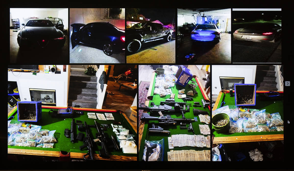 Photographs of stolen cars, weapons, drugs and cash that have been were seized during a vehicle ...