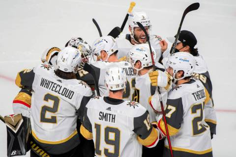 Vegas Golden Knights' Nicolas Roy celebrates his game-winning goal against the Montreal Canadie ...