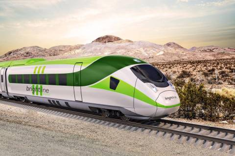 A rendering of a Brightline West train on Interstate 15 between Las Vegas and Los Angeles. (Cou ...