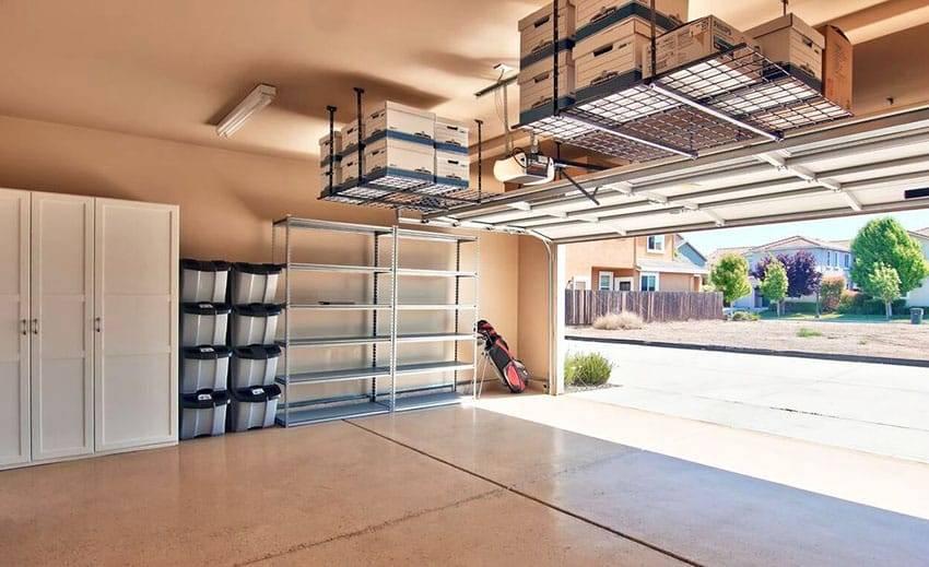 Overhead Storage Racks Clear Away Items, Garage Ceiling Storage Racks