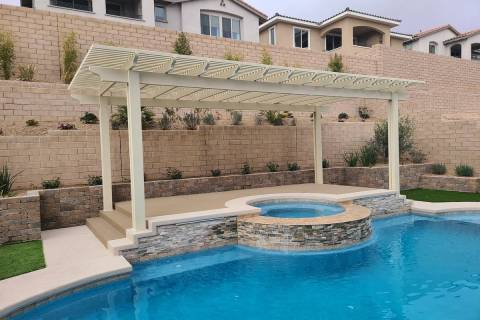 This lattice covering cools the deck surrounds when entering and exiting the hot tub and pool a ...