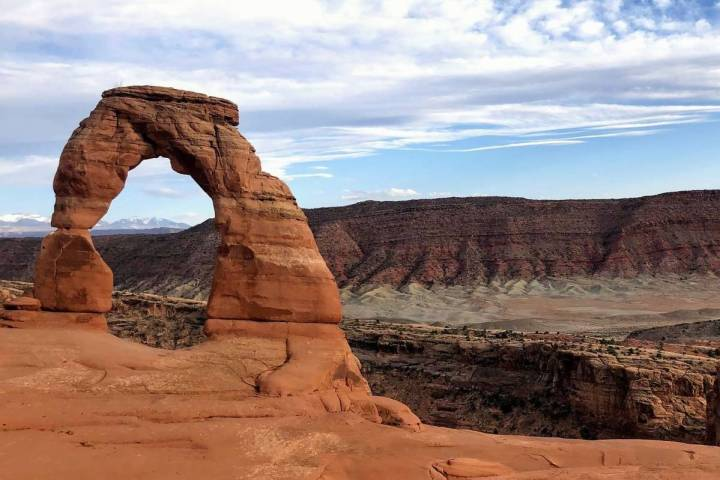 Delicate Arch is seen at Arches National Park on April 25, 2021, near Moab, Utah. (AP Photo/Lin ...