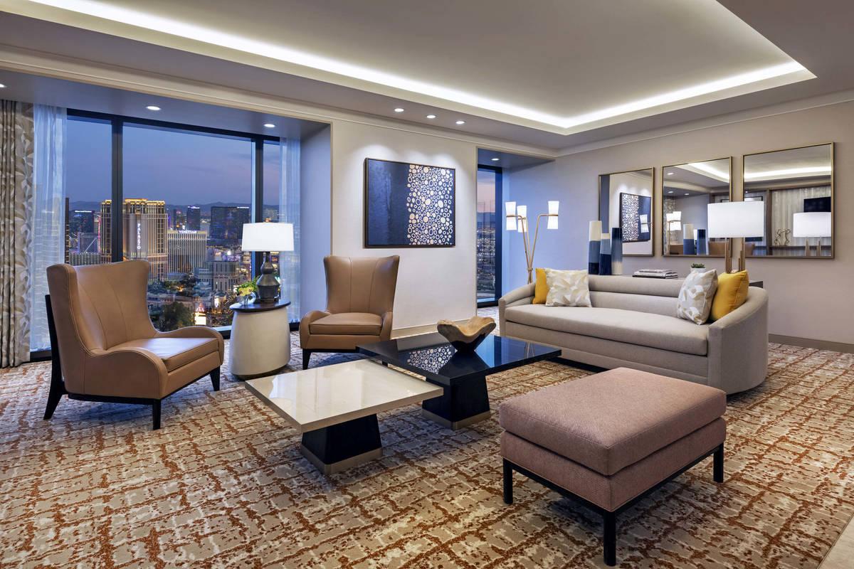 Resorts World Las Vegas Hilton OneBedroom Entertainment Suite Living Room. (Resorts World Las V ...