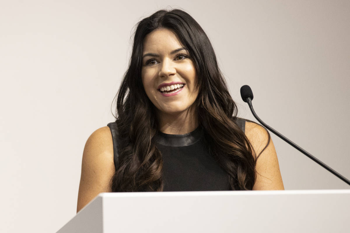 Stephanie Maes, MGM Resorts' director of sports partnerships, speaks on the announcement of a r ...