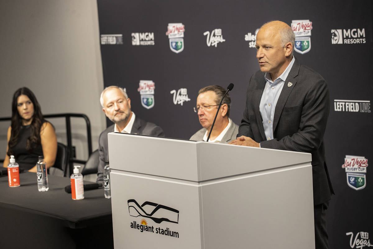Las Vegas Raiders President Marc Badain speaks on the announcement of a rugby match between the ...