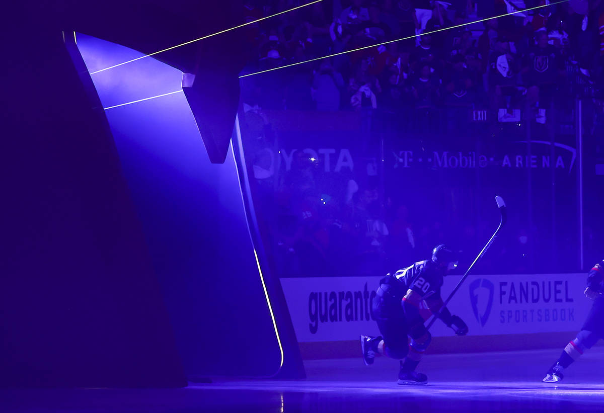 Golden Knights' Chandler Stephenson (20) skates onto the ice before taking on the Montreal Cana ...