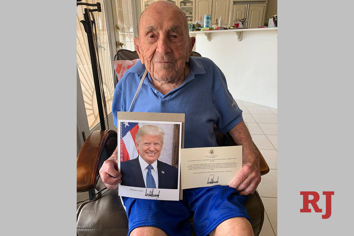 Joseph Rosa received a letter and photograph from the White House after turning 105 in 2020. (R ...