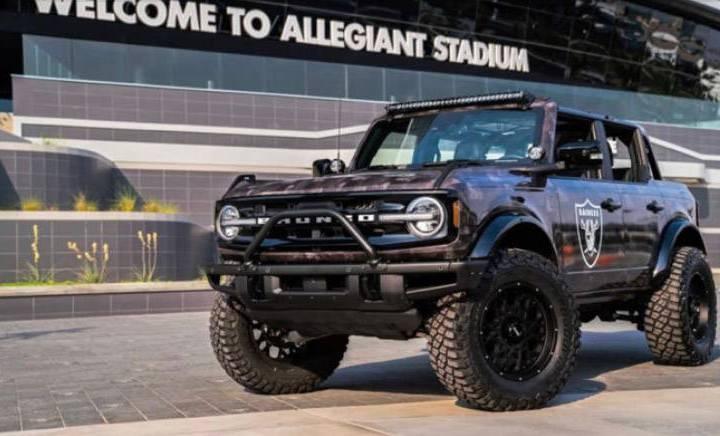 This custom Raiders Bronco was autioned off during the Barrett-Jackson's Las Vegas Auction held ...
