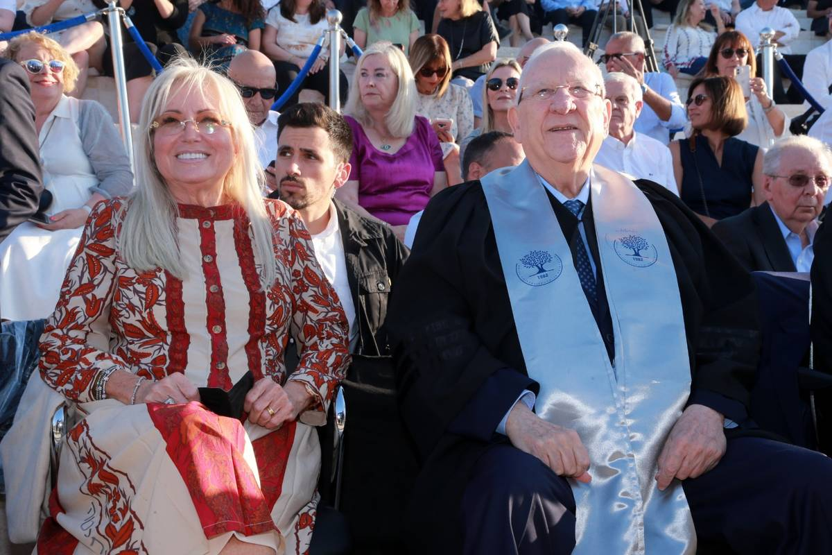 Dr. Miriam Adelson and outgoing Israeli President Reuven Rivlin are seen together, Tuesday, Jun ...