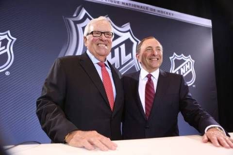 Las Vegas businessman Bill Foley, left, and NHL Commissioner Gary Bettman at the announcement o ...