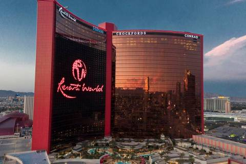 An aerial photo of Resorts World Las Vegas on the former site of the Stardust hotel casino on F ...