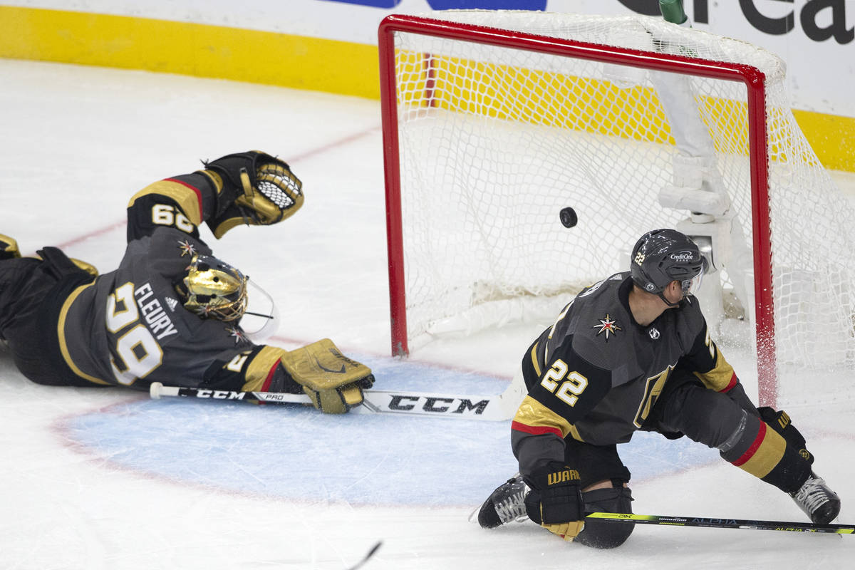 Golden Knights goaltender Marc-Andre Fleury (29) dives and misses the save while Golden Knights ...