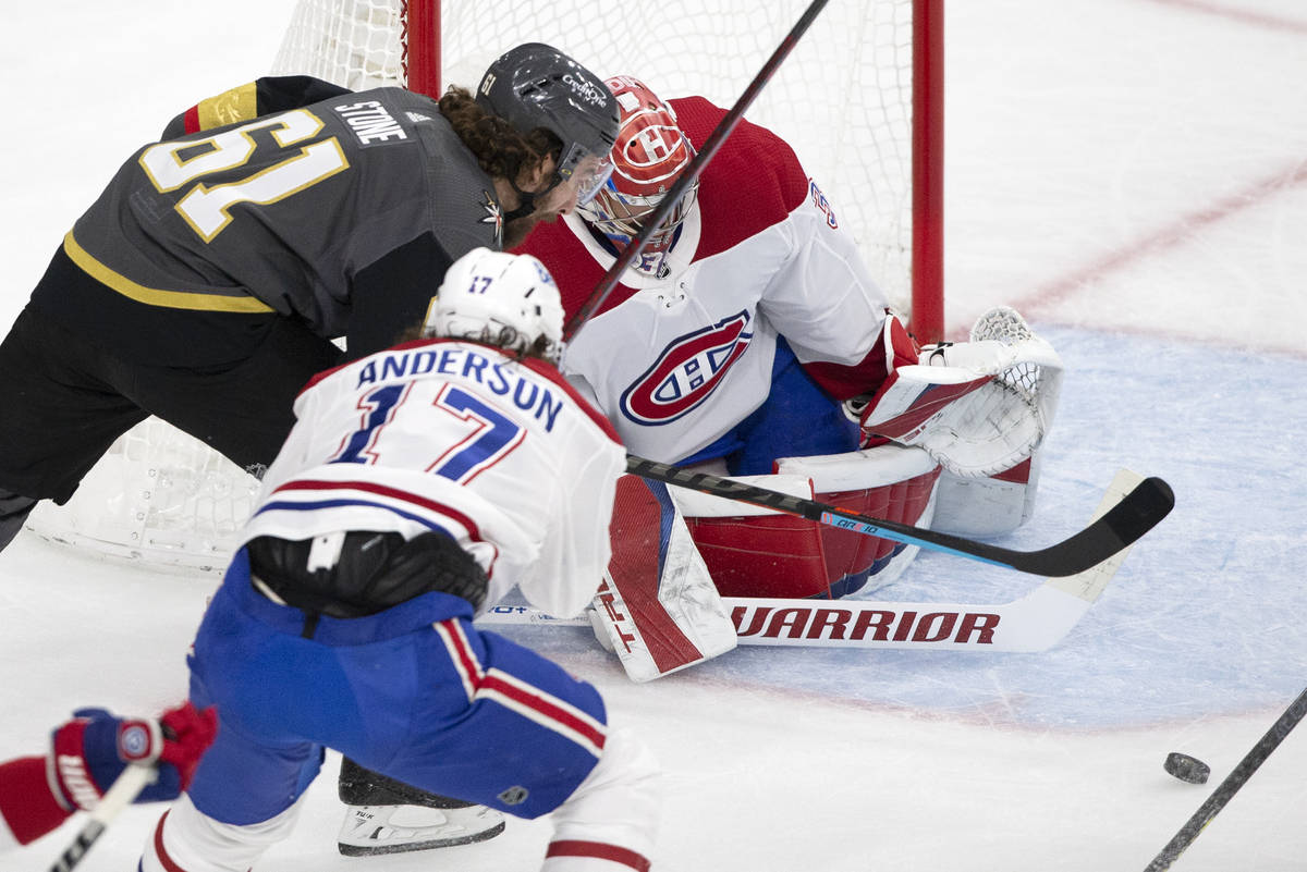 Golden Knights right wing Mark Stone (61) attempts a goal on Canadiens goaltender Carey Price ( ...