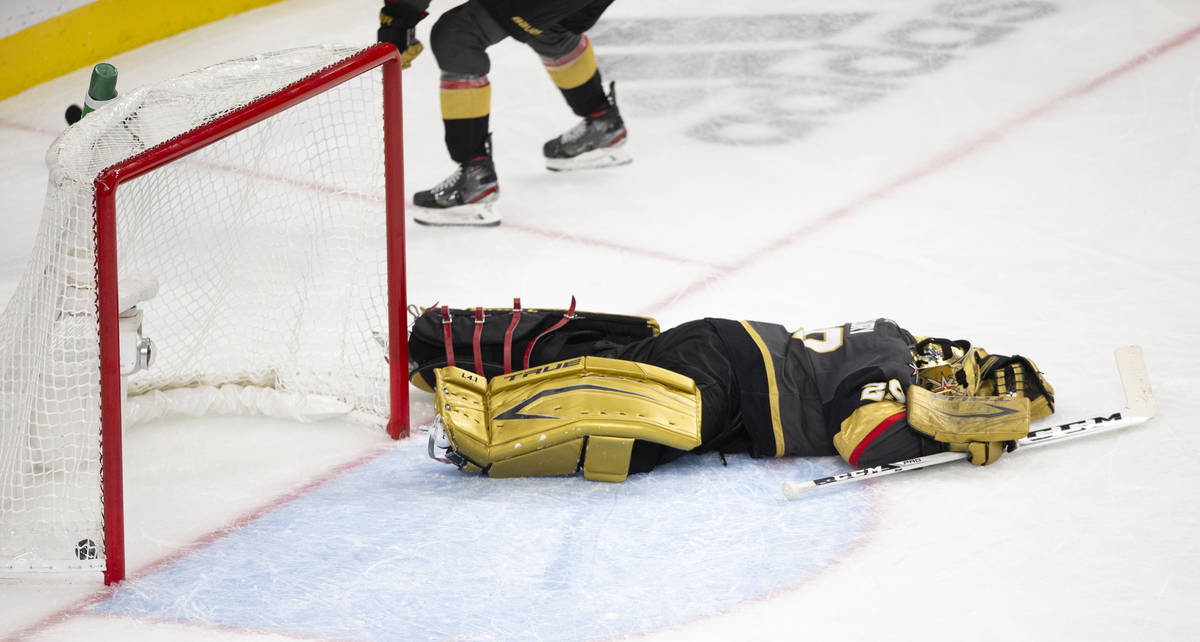 Golden Knights goaltender Marc-Andre Fleury (29) is defeated after missing the save on a goal s ...