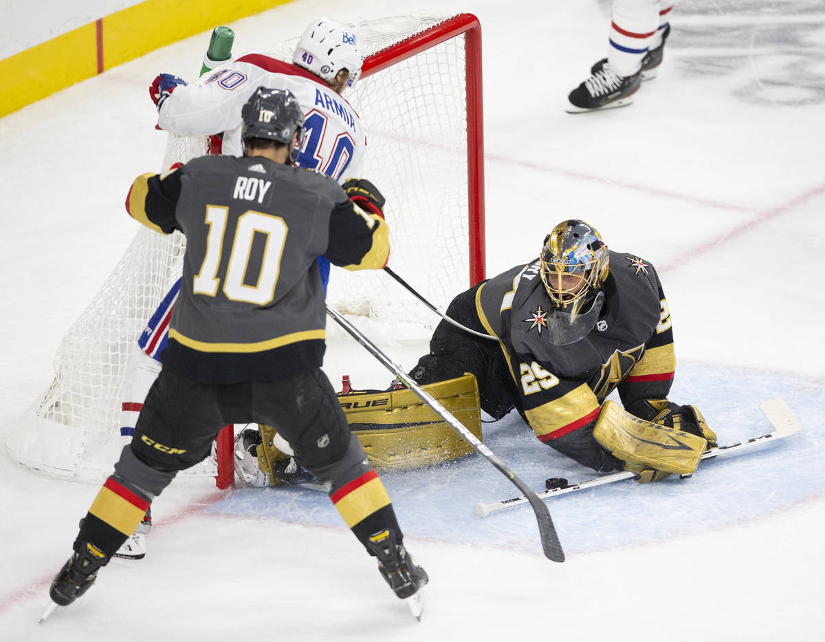 Canadiens right wing Joel Armia (40) takes an unsuccessful shot on Golden Knights goaltender Ma ...