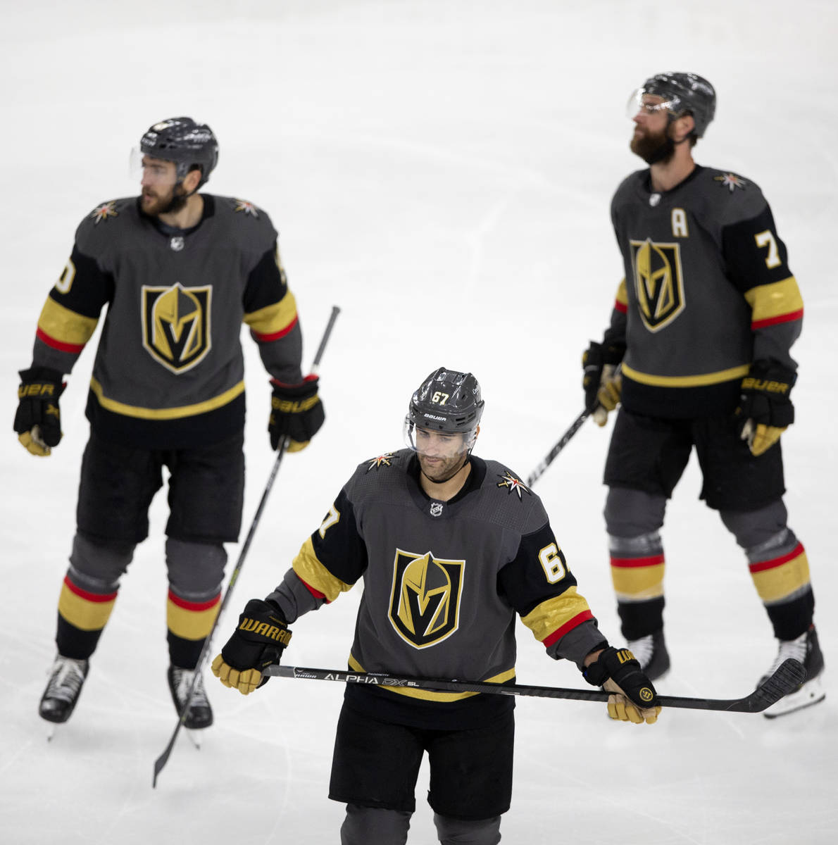 Golden Knights left wing Max Pacioretty (67) reacts after scoring the only goal of the game aga ...