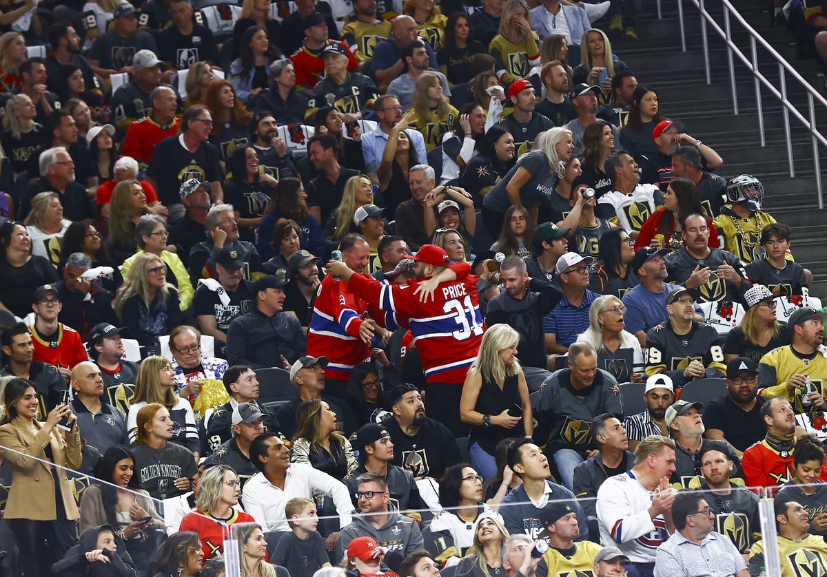 Montreal Canadiens fans celebrate after the team scored agains the Golden Knights during the fi ...
