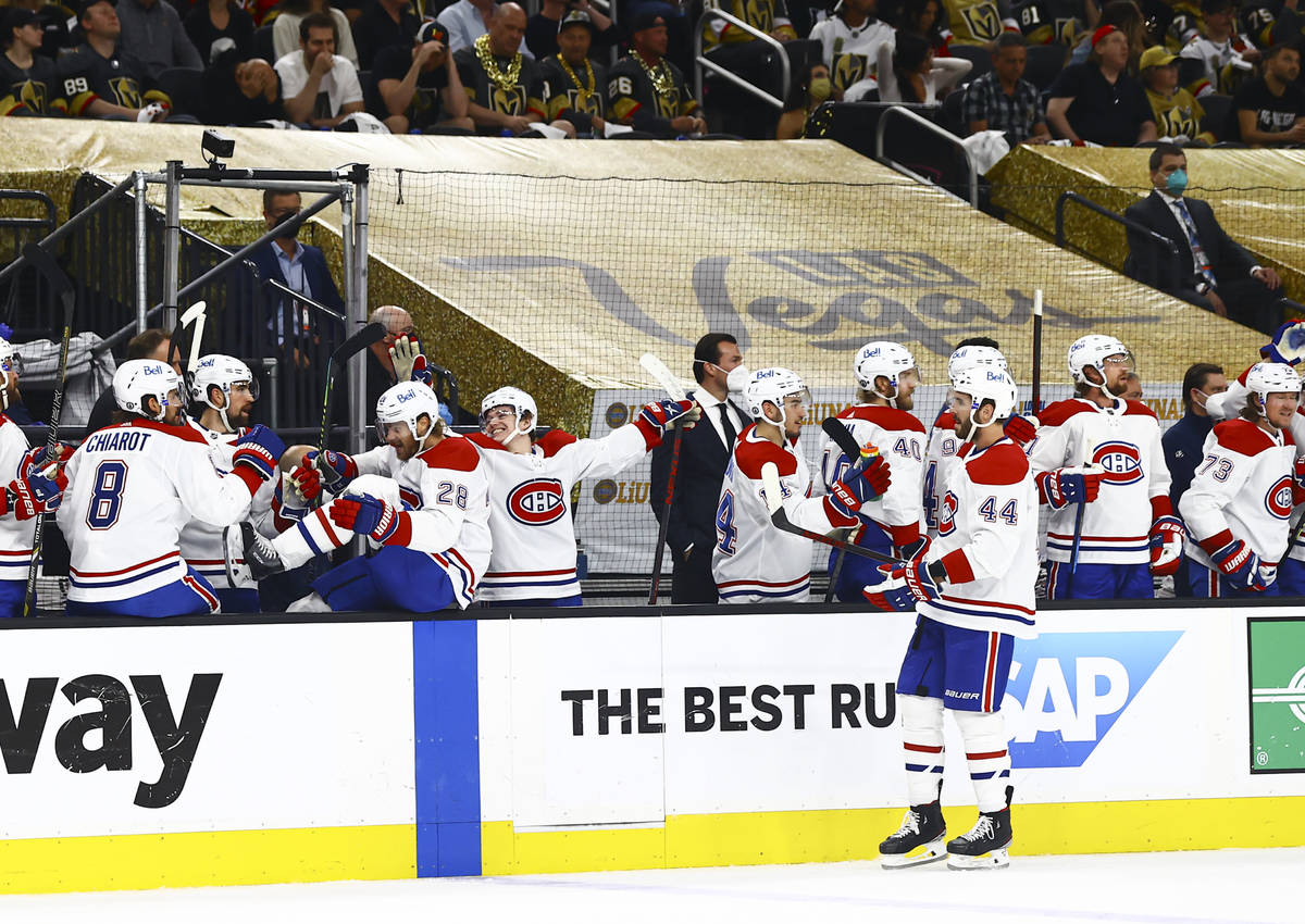 The Montreal Canadiens celebrate after a goal against the Golden Knights during the first perio ...