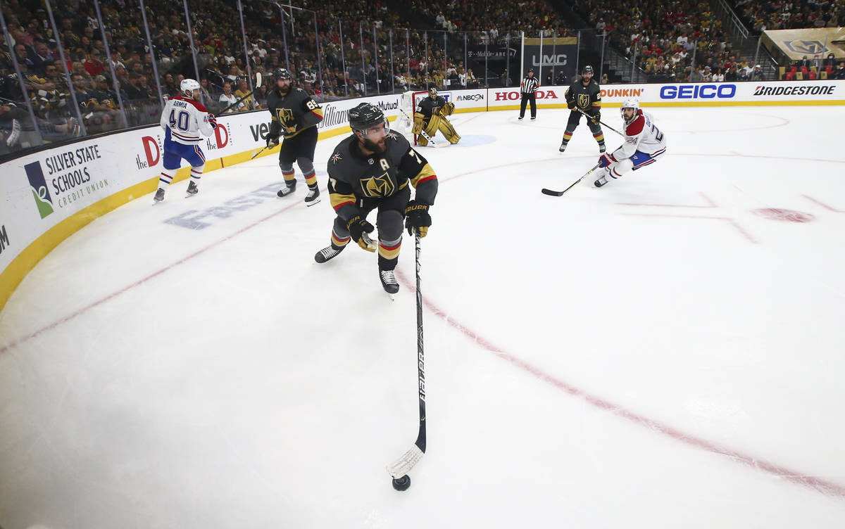 Golden Knights' Alex Pietrangelo (7) skates with the puck during the second period of Game 5 of ...