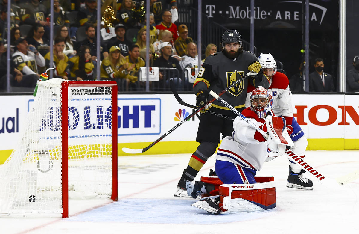 Golden Knights' Max Pacioretty, not pictured, scores a goal past Montreal Canadiens' goaltender ...